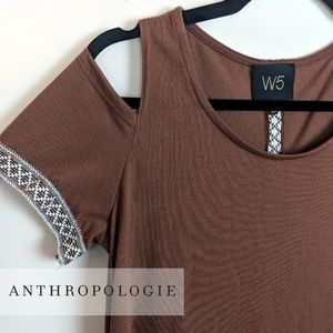Anthropologie W5 • Brown Cold Shoulder Top